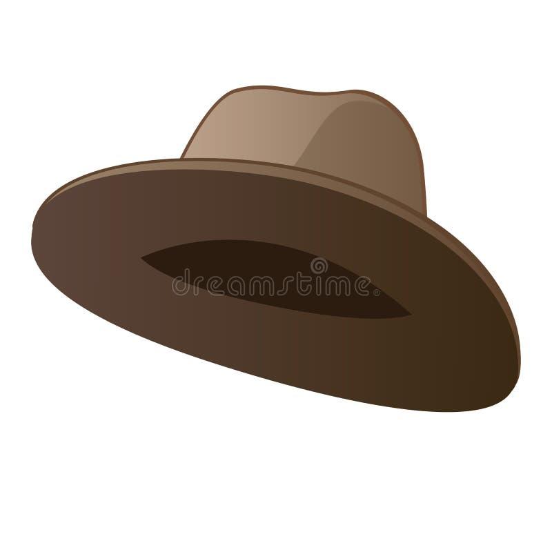 Klassischer brauner Hut lokalisiert auf weißem Hintergrund Vektorkarikatur-Nahaufnahmeillustration lizenzfreie abbildung