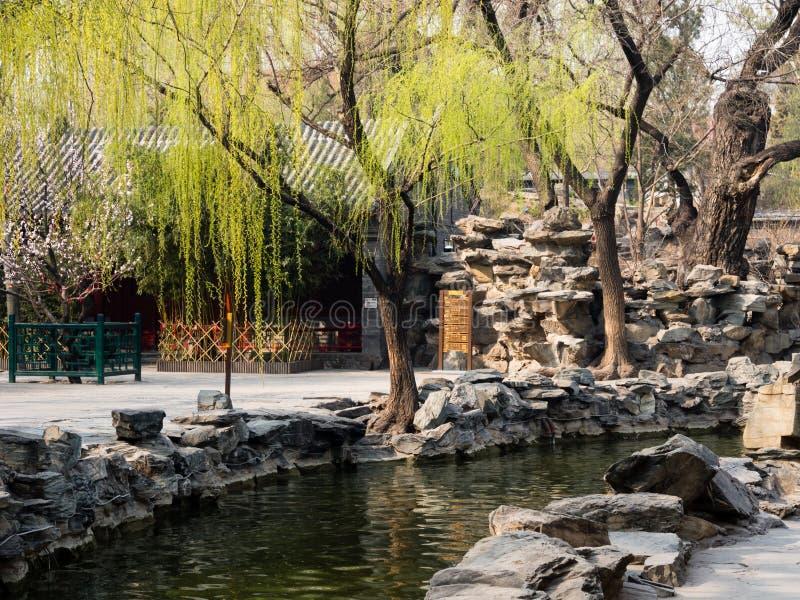 Klassischer chinesischer Garten mit Teich lizenzfreie stockfotos