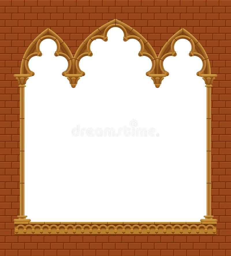 Klassischer gotischer architektonischer dekorativer Rahmen auf Wand des roten Backsteins lizenzfreie abbildung