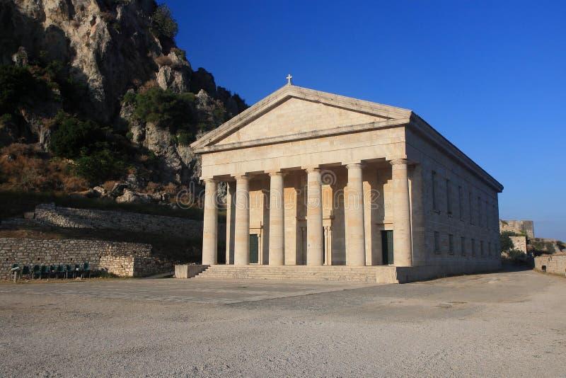 Klassischer griechischer Tempel stockbild