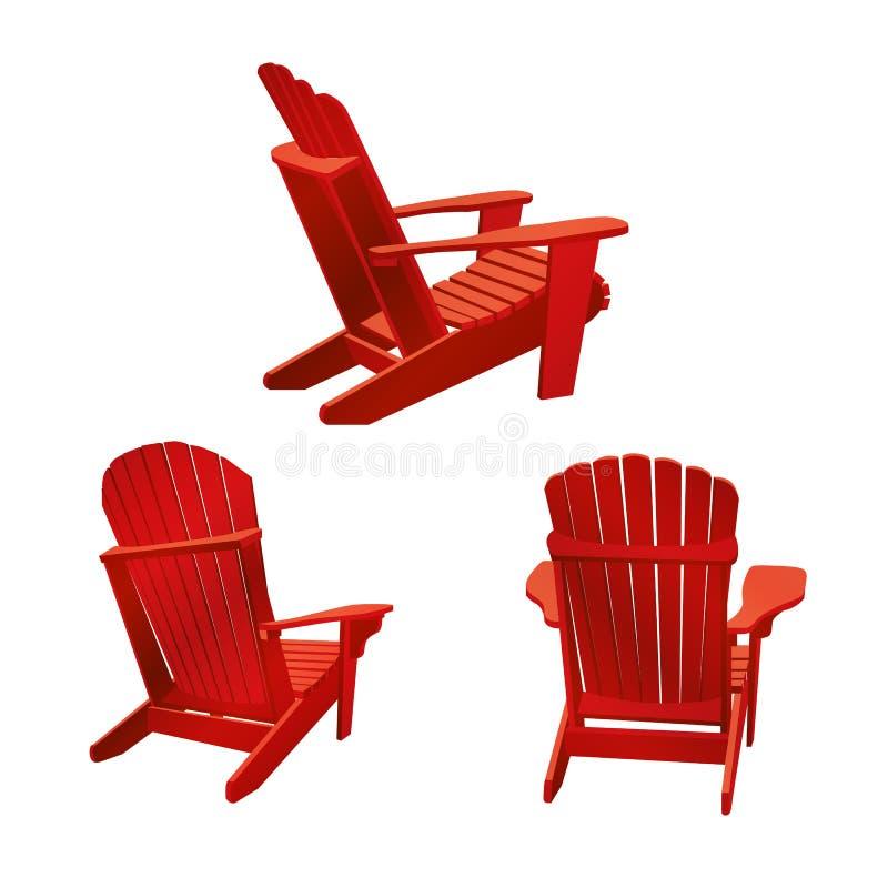 Klassischer hölzerner Stuhl im Freien gemalt in der roten Farbe Gartenmöbel eingestellt in adirondack Art stock abbildung