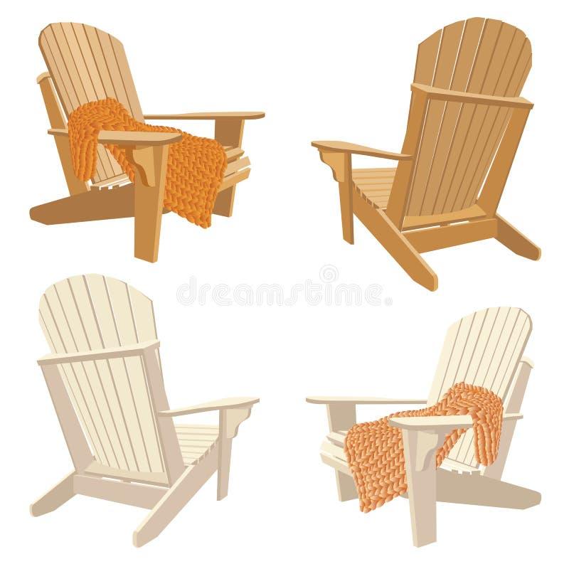 Klassischer hölzerner Stuhl im Freien mit klumpigem Knitplaid Gartenmöbel eingestellt in adirondack Art stock abbildung
