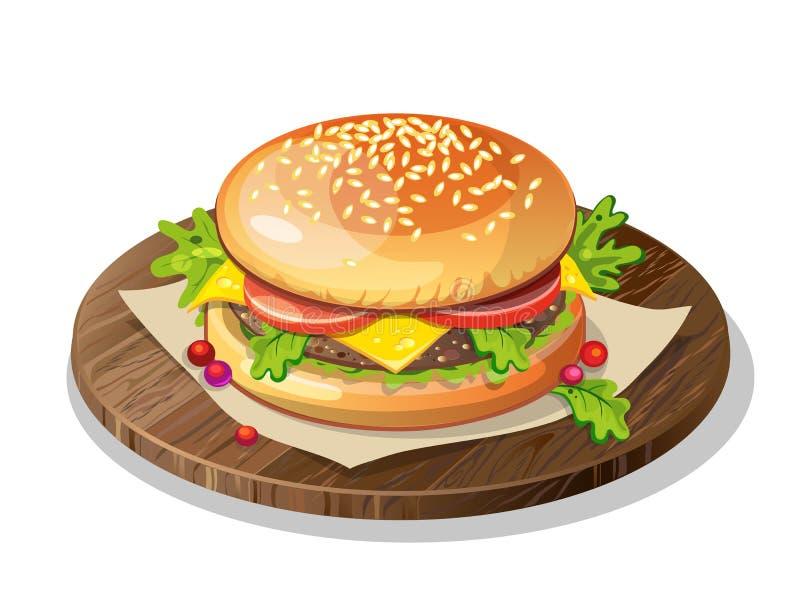klassischer Hamburger auf Platte stock abbildung