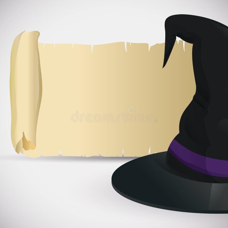 Klassischer Hexen-Hut mit alter Rolle vektor abbildung