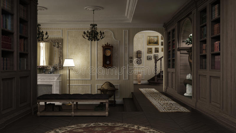 Klassischer Innenraum, Lobby mit Kamin stock abbildung