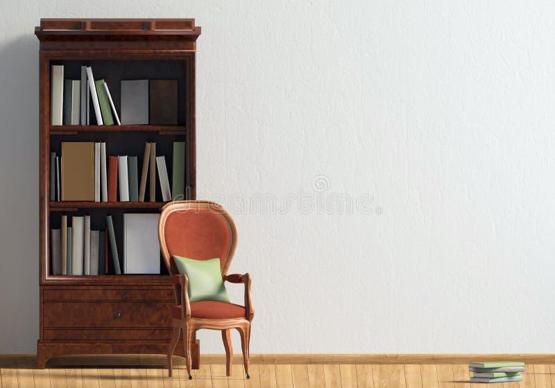 Klassischer Innenraum mit Bücherschrank und Stuhl Wandspott oben illus 3d stock abbildung