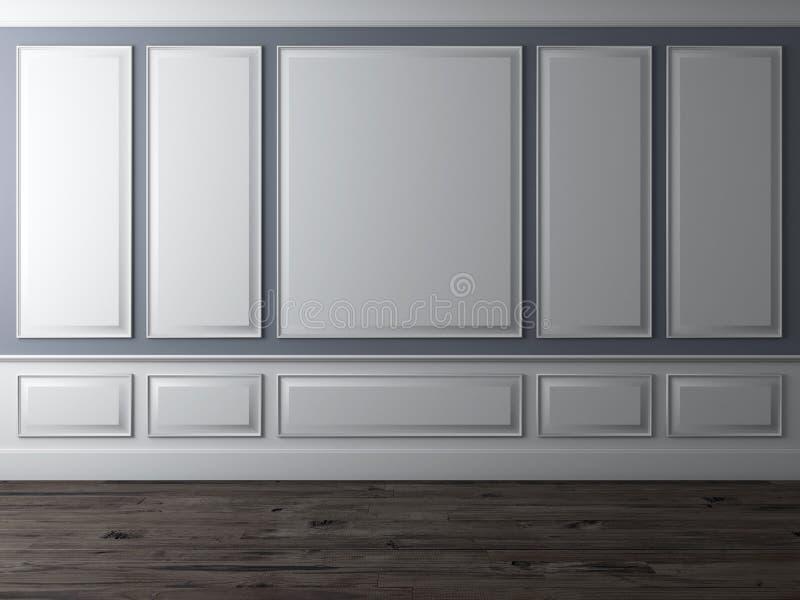 Klassischer Innenraum mit blauer Wand und hölzernem Fußboden vektor abbildung