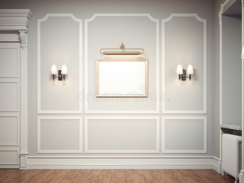 Klassischer Innenraum mit einem goldenen Bilderrahmen Wiedergabe 3d vektor abbildung