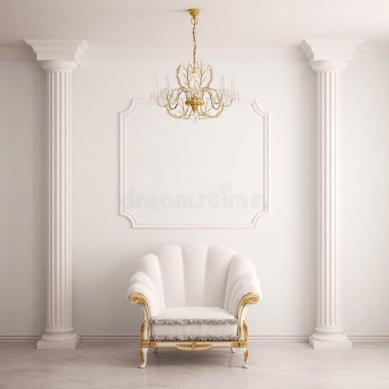 Klassischer Innenraum mit einem Lehnsessel stockbild