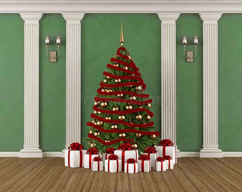 Klassischer Innenraum mit Weihnachtsbaum vektor abbildung