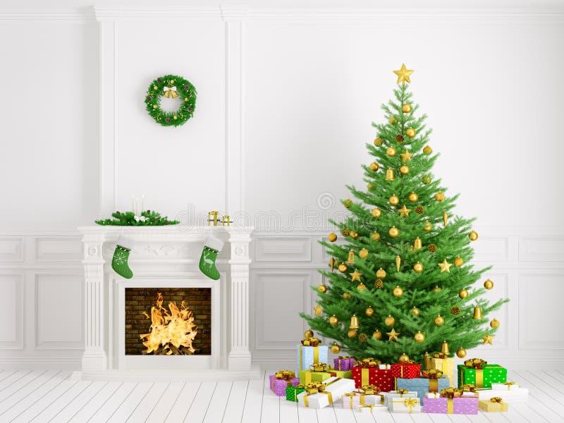 Klassischer Innenraum mit Weihnachtsbaum und Wiedergabe des Kamins 3d vektor abbildung