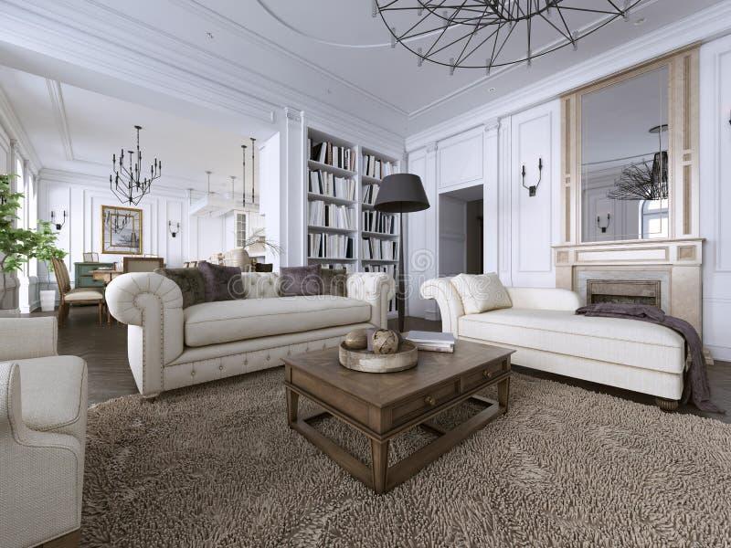 Klassischer Innenraum Sofa, Stühle, sidetables mit Lampen, Tabelle mit Dekor Weiße Wände mit Formteilen Bodenparkettfischgrätenmu lizenzfreie abbildung