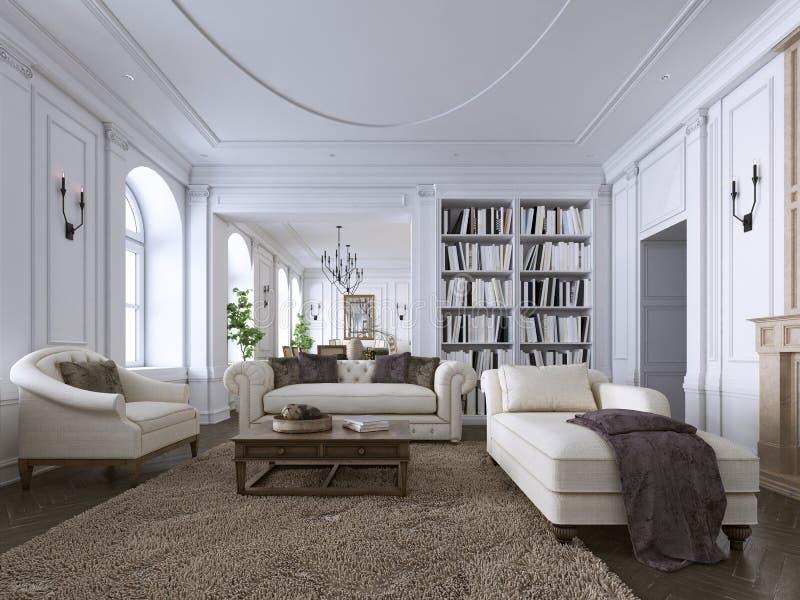 Klassischer Innenraum Sofa, Stühle, sidetables mit Lampen, Tabelle mit Dekor Weiße Wände mit Formteilen Bodenparkettfischgrätenmu stock abbildung