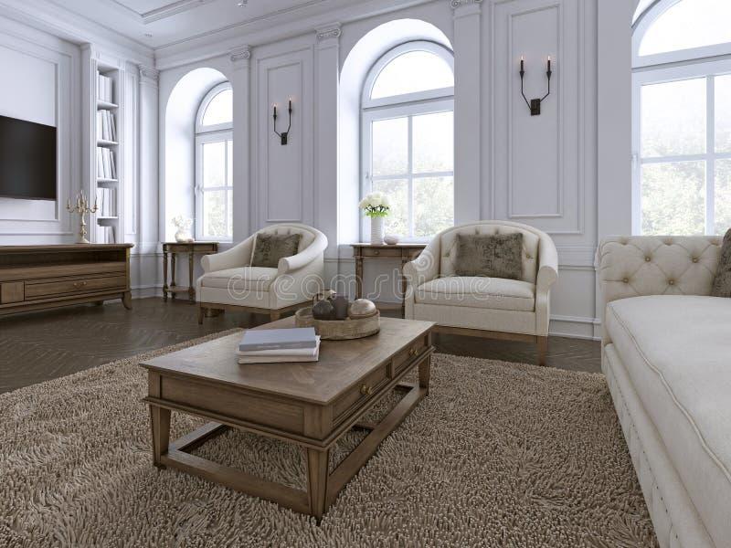 Klassischer Innenraum Sofa, Stühle, sidetables mit Lampen, Tabelle mit Dekor Weiße Wände mit Formteilen Bodenparkettfischgrätenmu vektor abbildung