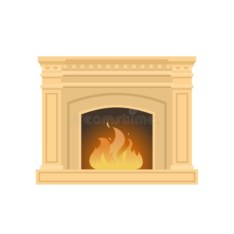 Klassischer Kamin gemacht vom Naturstein, Gips, mit brennender Flamme vektor abbildung
