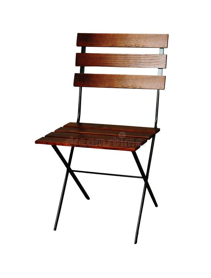 Klassischer Klappstuhl des französischen Designs im Freien mit einem schwarzen Metallrahmen stockbilder