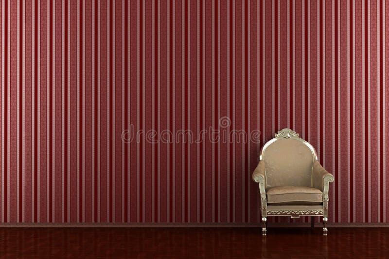 Klassischer Lehnsessel vor roter gestreifter Wand lizenzfreie abbildung