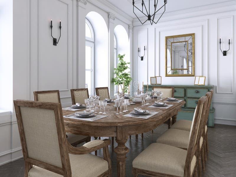 Klassischer Luxusinnenraum des Esszimmers, der Küche und des Wohnzimmers mit den weißen und braunen Möbeln und den Metallleuchter lizenzfreie abbildung