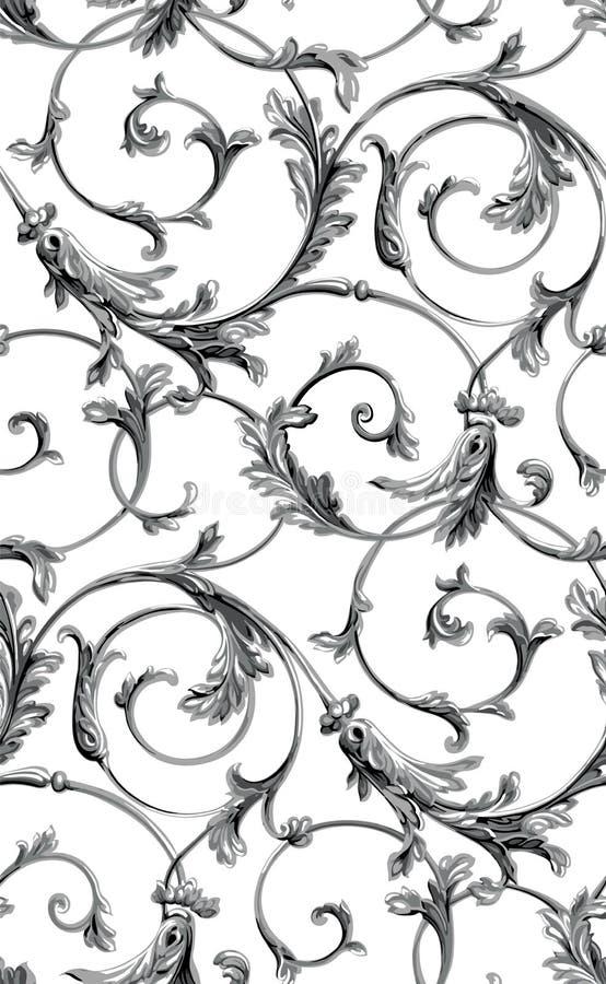 Klassischer nahtloser Musterhintergrund des Vektors Klassische altmodische klassische Luxusverzierung, königliche victorian nahtl lizenzfreie abbildung