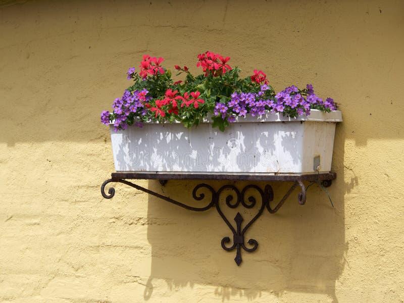 Klassischer Pflanzer Flowerpot auf einer Ziegelsteinwand lizenzfreies stockbild