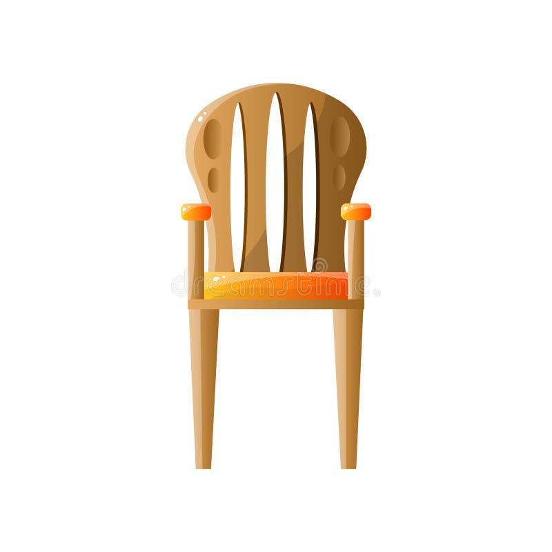 Klassischer Retro- Holzstuhl mit der R?ckenlehne lokalisiert auf wei?em Hintergrund lizenzfreie abbildung