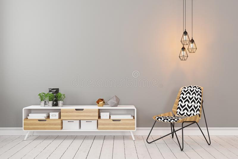 Klassischer skandinavischer grauer leerer Rauminnenraum mit Aufbereiter, Stuhl stock abbildung