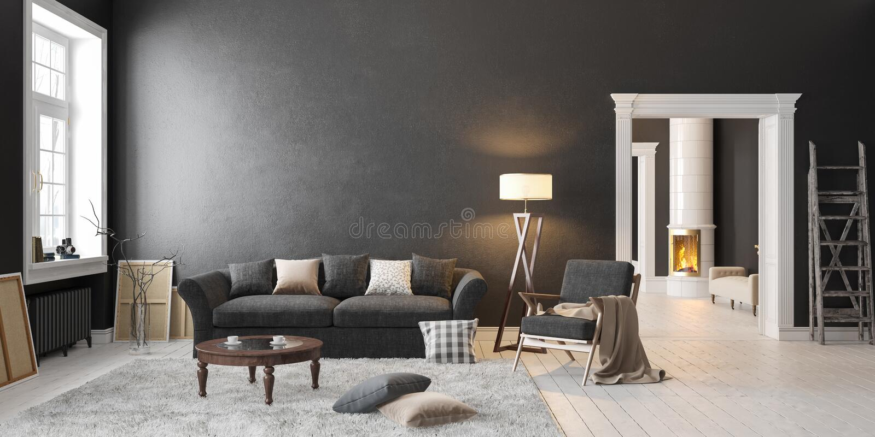 Klassischer skandinavischer schwarzer Innenraum mit Kamin, Sofa, Tabelle, Klubsessel, Stehlampe lizenzfreie abbildung