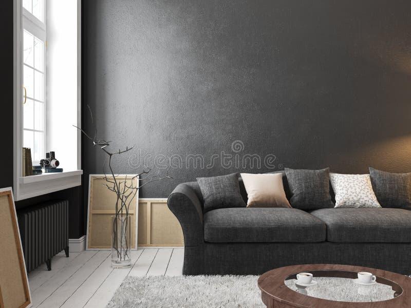 Klassischer skandinavischer schwarzer Innenraum mit Sofa, Tabelle, Fenster, Teppich stock abbildung