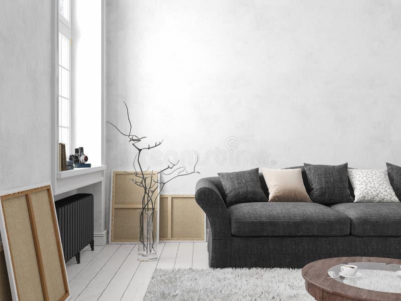 Klassischer skandinavischer weißer Innenraum mit Sofa, Tabelle, Fenster, Teppich vektor abbildung