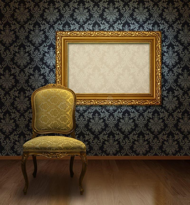Klassischer Stuhl und Feld lizenzfreie stockbilder