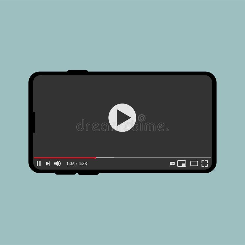 Klassischer Video-Player für Internet-Dampfvektor stock abbildung