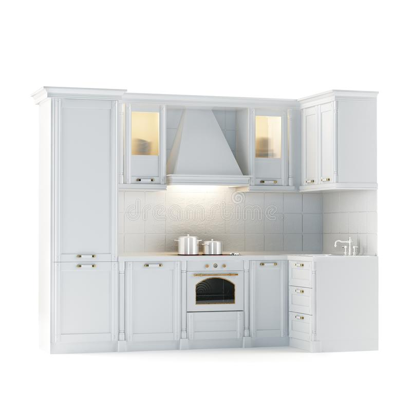 Klassischer Weißer Küchenschrank (lokalisiert Auf Weiß) Stock ...