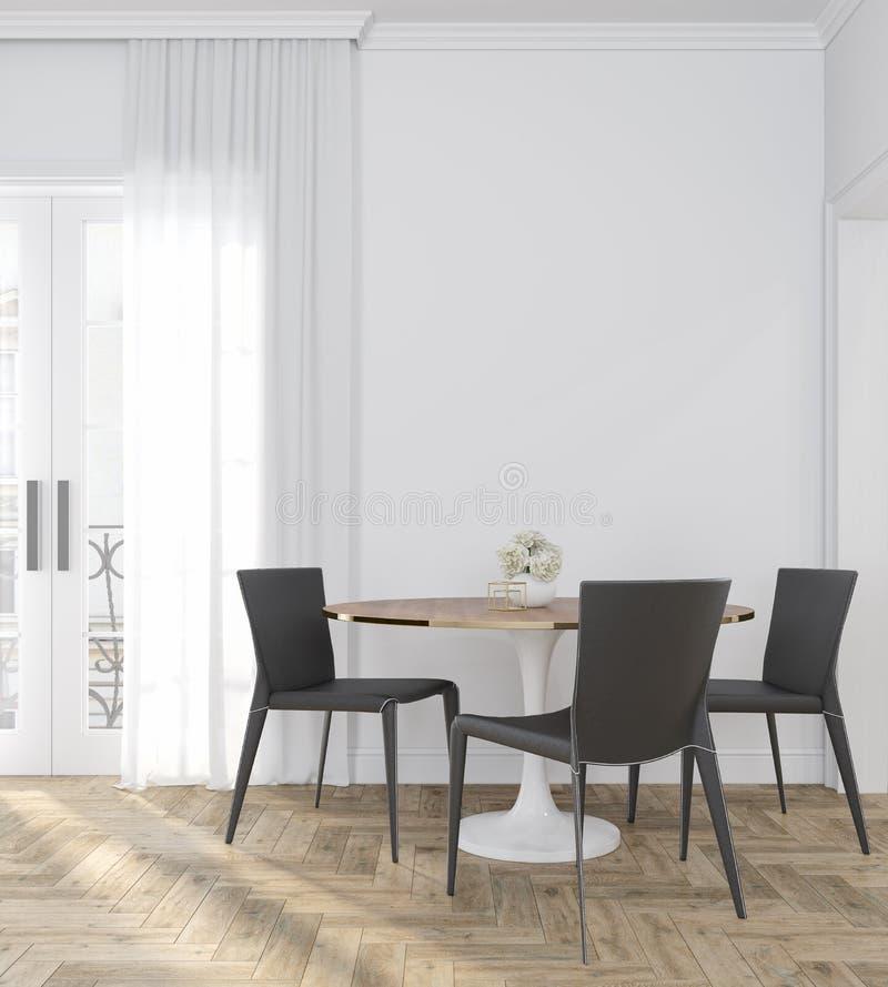 Klassischer weißer leerer Innenraum mit Abendtische, Stühlen, Vorhang, Bretterboden und Blumen stock abbildung