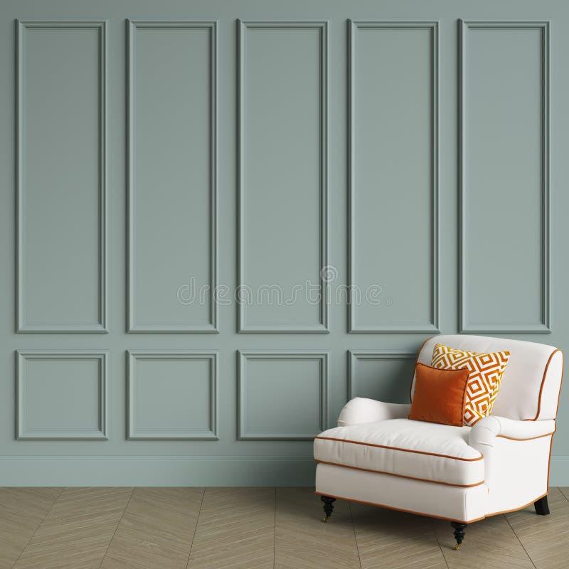 Klassischer weißer Stuhl mit dem orange Kissen, das im klassischen Innenraum steht vektor abbildung