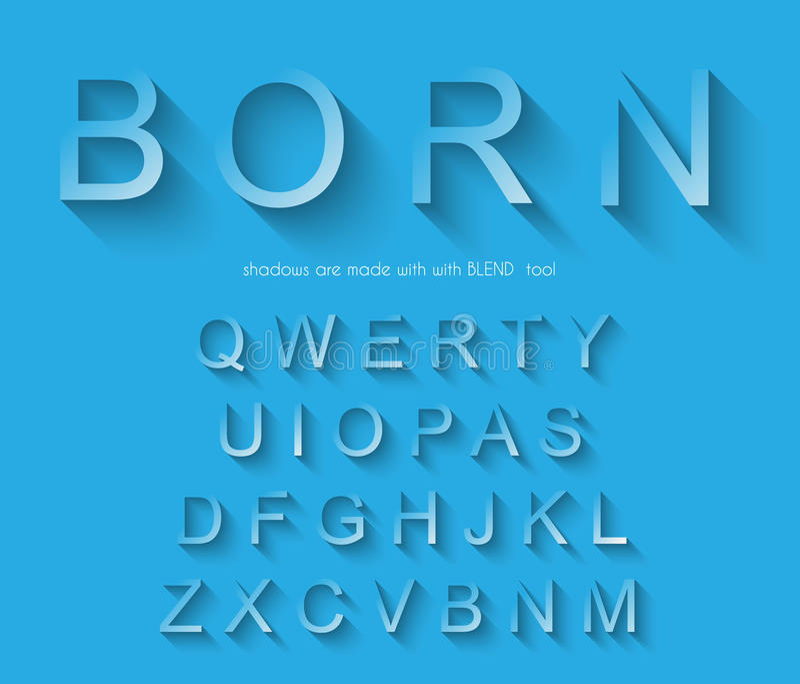 Klassisches Alphabet mit modernem langem Schatteneffekt lizenzfreie abbildung