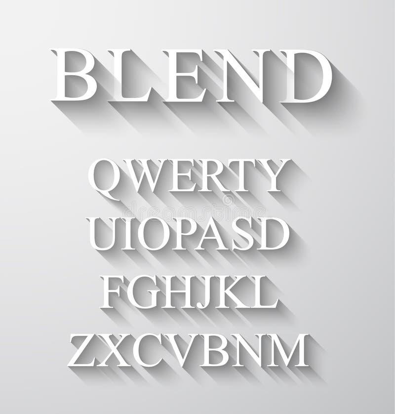 Klassisches Alphabet mit modernem langem Schatteneffekt vektor abbildung