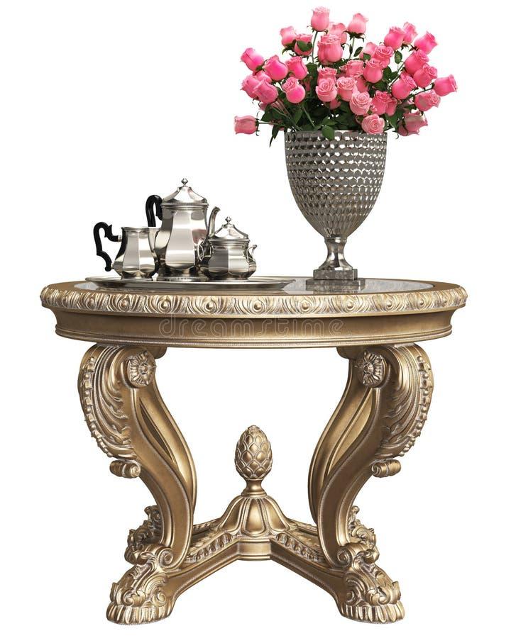 Klassisches Barock schnitzte Tabelle mit Blumenstrauß von Rosen und von Kaffeesilbersatz, der auf weißem Hintergrund lokalisiert  vektor abbildung