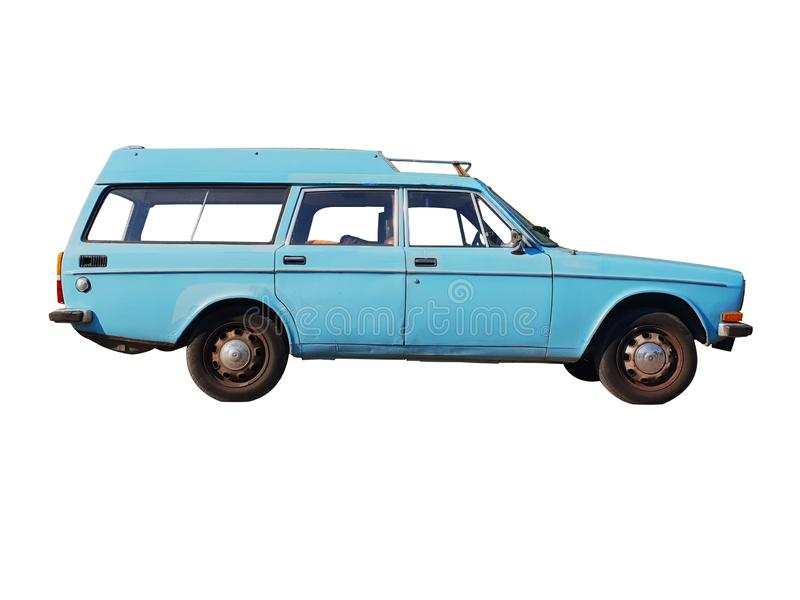 Klassisches blaues Auto lokalisiert lizenzfreie stockfotos
