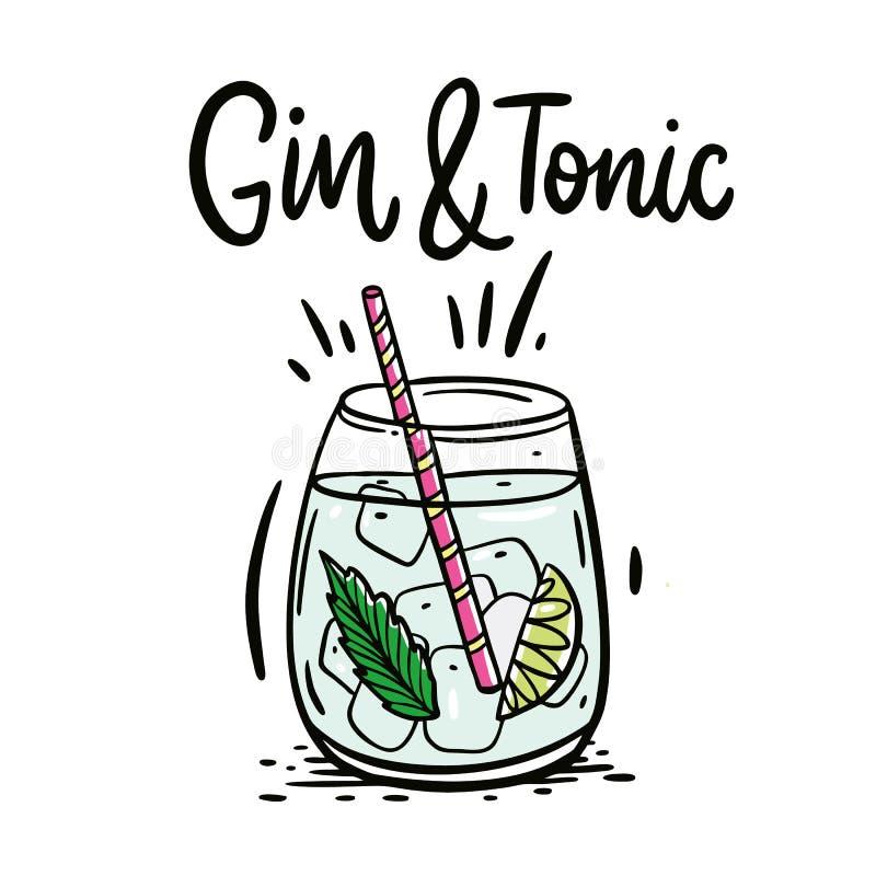 Klassisches Cocktail Gin Tonic Handgezogene Vektorillustration und -beschriftung lizenzfreie abbildung