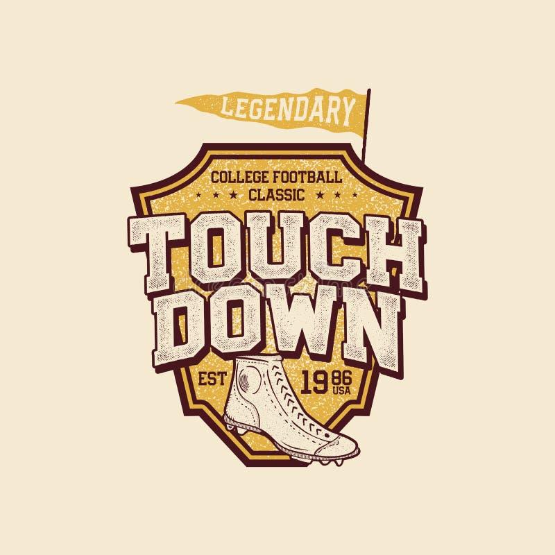 Klassisches Colleget-shirt Design Grafikdesign T-Stück des amerikanischen Fußballs, Aufkleber Landungszeichen USA-Fußballweinlese lizenzfreie abbildung