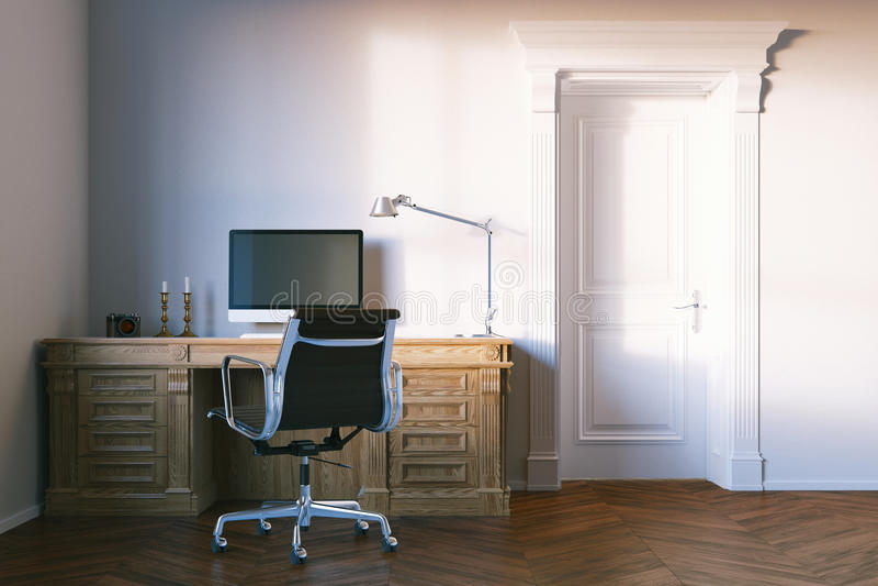 Klassisches elegantes Bürokabinett mit geschlossener Holztür rende 3D lizenzfreies stockfoto