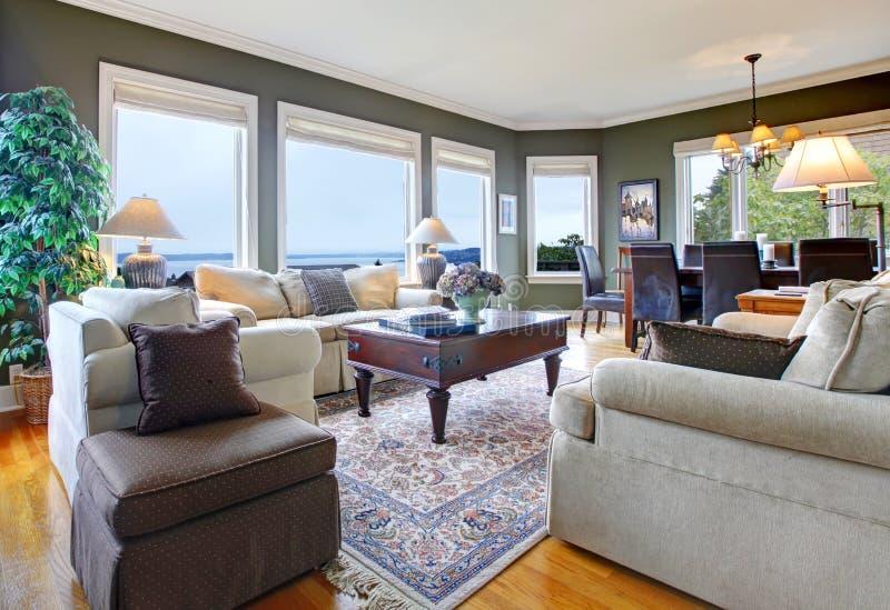 Klassisches grünes Wohnzimmer mit netten Möbeln lizenzfreie stockfotografie