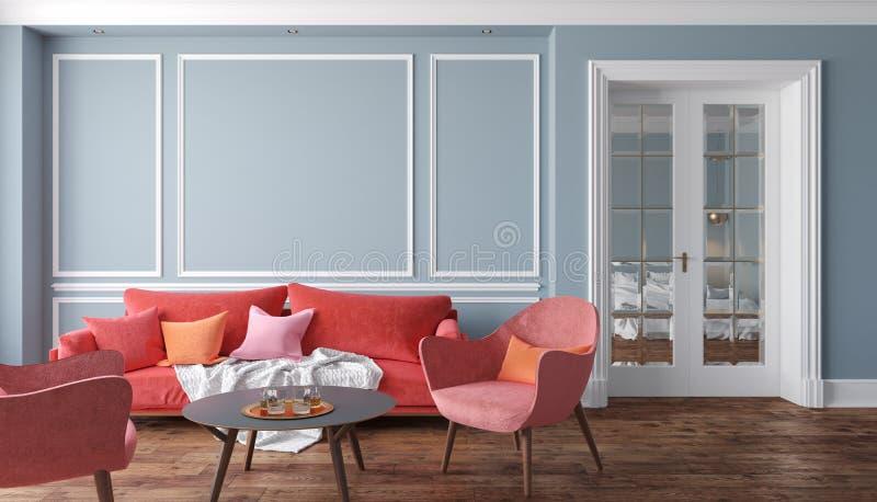 Klassisches graues Innenwohnzimmer mit rotem Sofa und Lehnsesseln Illustrationsspott oben vektor abbildung