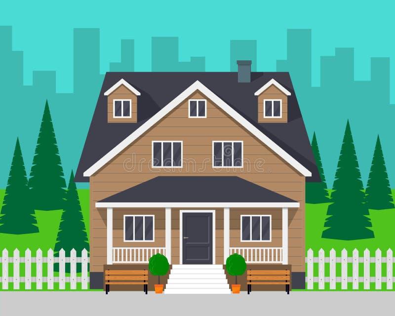 Klassisches Häuschenhaus mit Bäumen und Straße Privathaus und Stadt auf Hintergrund Vektorillustration, flache Art stock abbildung