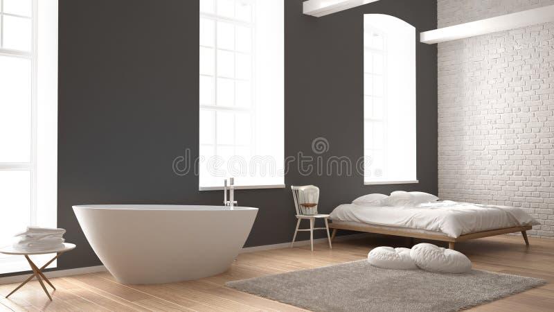 Klassisches Industrielles Modernes Schlafzimmer Mit Großem ...
