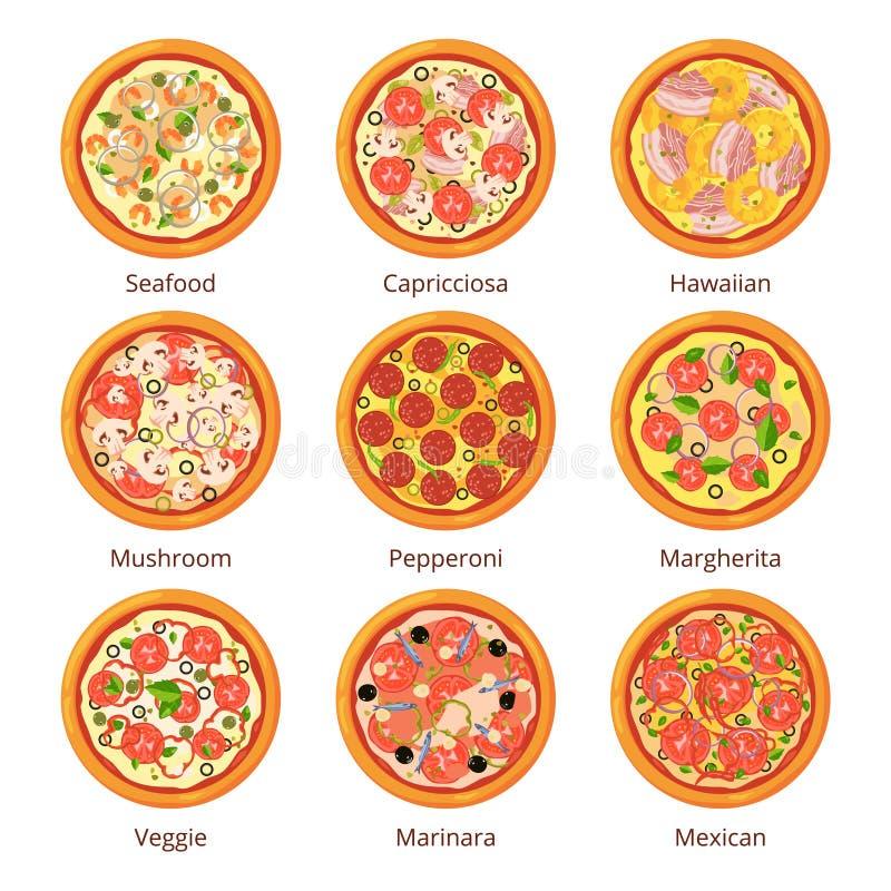 Klassisches italienisches Lebensmittel Draufsicht der Pizza in der Karikaturart Vektorillustrationen lokalisiert auf Weiß stock abbildung