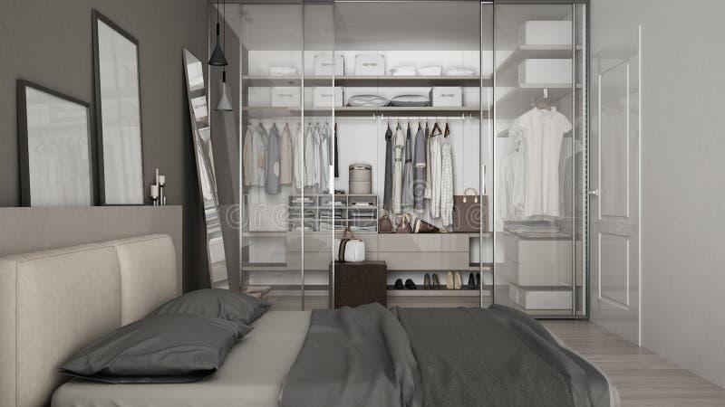 Klassisches minimales Schlafzimmer mit begehbarem Schrank stockfotografie