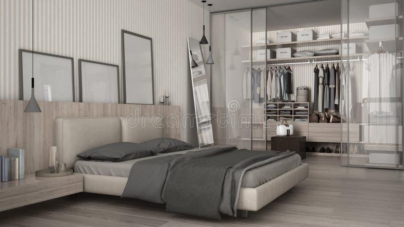 Klassisches Minimales Schlafzimmer Mit Begehbarem Schrank ...