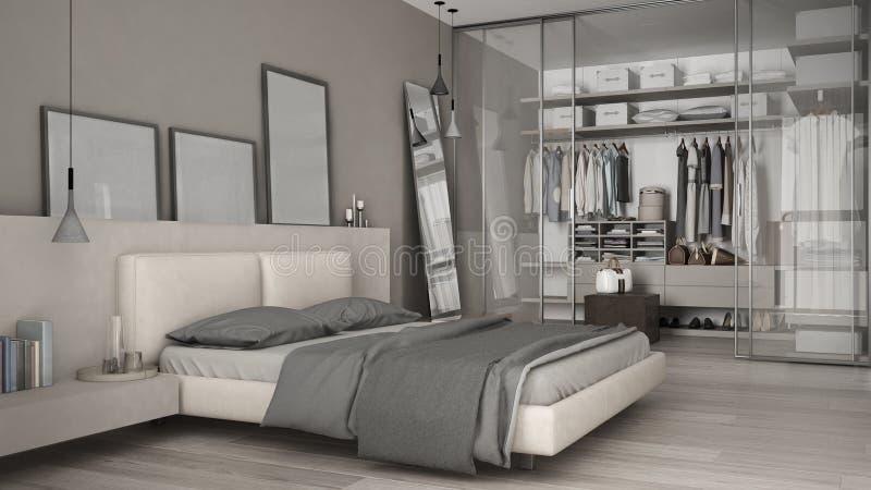 Klassisches minimales Schlafzimmer mit begehbarem Schrank stock abbildung