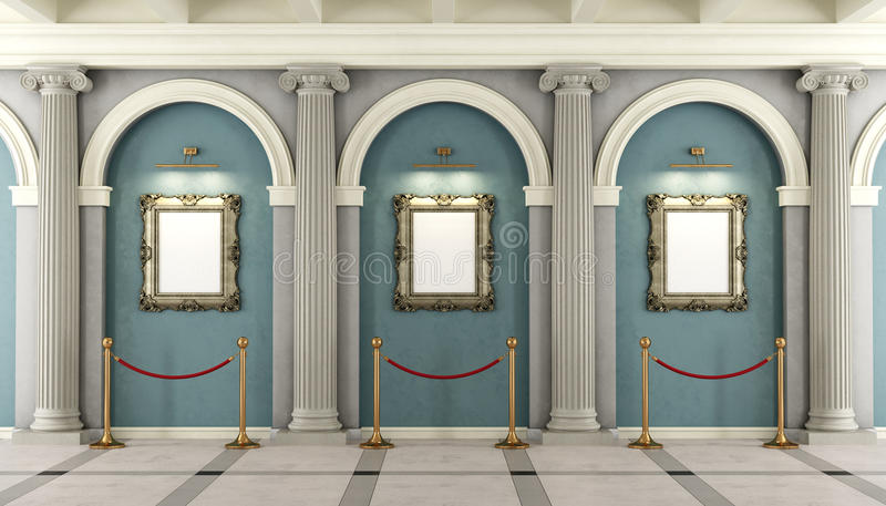 Klassisches Museum mit goldenem Rahmen auf Wand stock abbildung